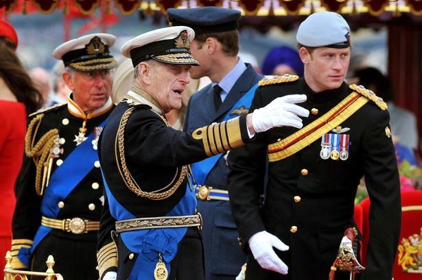 Prince Charles, Prince of Wales, Prince Philip, Duke of Edinburgh, Prince William and Prince Harry talk onboard the Spirit of Chartwell